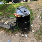 Overflowing Trash Can at 241c Perkins St, Jamaica Plain